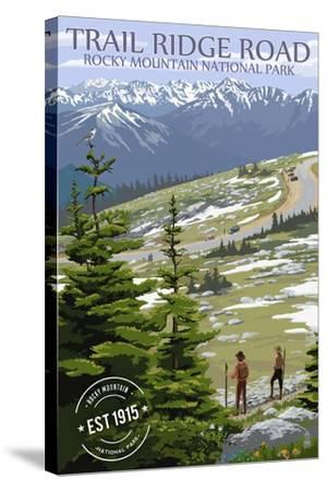 Trail Ridge Road - Rocky Mountain National Park - Rubber Stamp-Lantern Press-Stretched Canvas Print