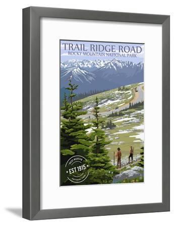 Trail Ridge Road - Rocky Mountain National Park - Rubber Stamp-Lantern Press-Framed Art Print