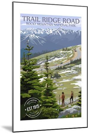 Trail Ridge Road - Rocky Mountain National Park - Rubber Stamp-Lantern Press-Mounted Art Print
