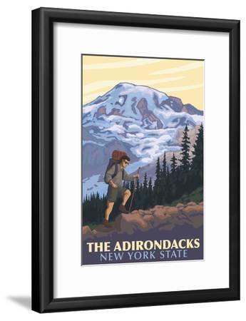 The Adirondacks, New York - Hikers and Mountain-Lantern Press-Framed Art Print