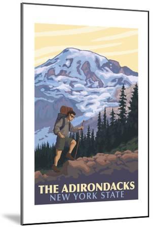 The Adirondacks, New York - Hikers and Mountain-Lantern Press-Mounted Art Print