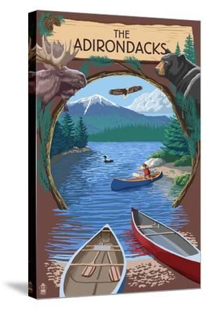 The Adirondacks, New York - Canoe Scene-Lantern Press-Stretched Canvas Print