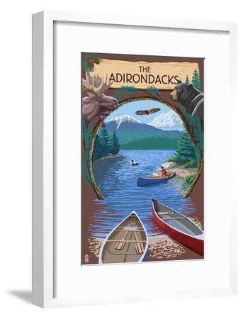 The Adirondacks, New York - Canoe Scene-Lantern Press-Framed Art Print