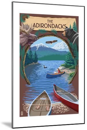 The Adirondacks, New York - Canoe Scene-Lantern Press-Mounted Art Print
