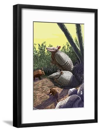 Armadillo Family-Lantern Press-Framed Art Print