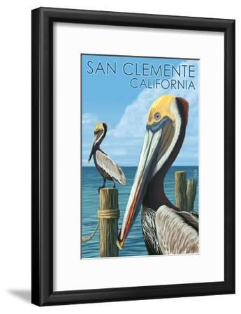 San Clemente, California - Brown Pelican-Lantern Press-Framed Art Print