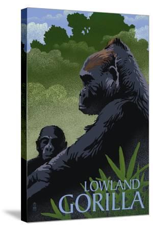 Lowland Gorilla - Lithograph Series-Lantern Press-Stretched Canvas Print