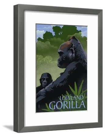 Lowland Gorilla - Lithograph Series-Lantern Press-Framed Art Print