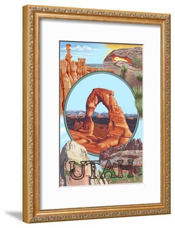 Utah - Delicate Arch Montage-Lantern Press-Framed Art Print