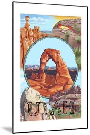 Utah - Delicate Arch Montage-Lantern Press-Mounted Art Print