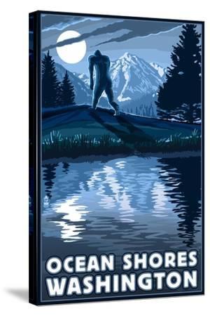 Ocean Shores, Washington - Bigfoot and Mountain-Lantern Press-Stretched Canvas Print