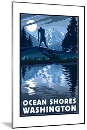 Ocean Shores, Washington - Bigfoot and Mountain-Lantern Press-Mounted Art Print