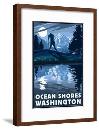 Ocean Shores, Washington - Bigfoot and Mountain-Lantern Press-Framed Art Print