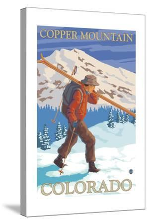 Copper Mountain, Colorado - Skier Carrying-Lantern Press-Stretched Canvas Print