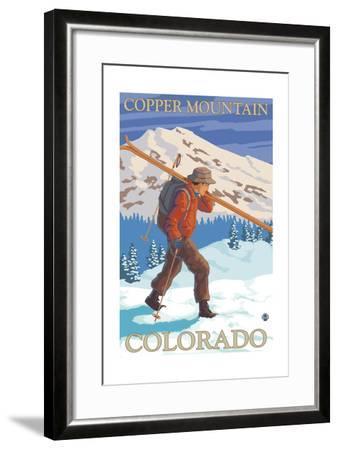 Copper Mountain, Colorado - Skier Carrying-Lantern Press-Framed Art Print