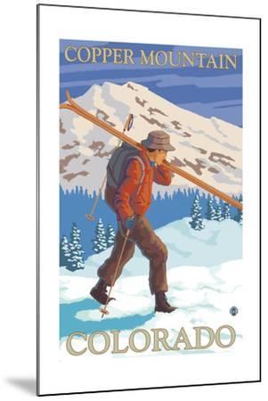 Copper Mountain, Colorado - Skier Carrying-Lantern Press-Mounted Art Print