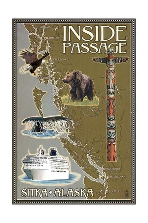 Sitka, Alaska - Inside Passage Map-Lantern Press-Framed Art Print