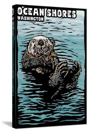 Ocean Shores, Washington - Sea Otter - Scratchboard-Lantern Press-Stretched Canvas Print
