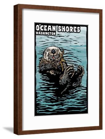 Ocean Shores, Washington - Sea Otter - Scratchboard-Lantern Press-Framed Art Print