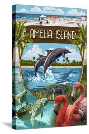 Amelia Island, Florida - Montage-Lantern Press-Stretched Canvas Print