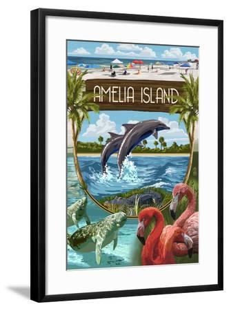 Amelia Island, Florida - Montage-Lantern Press-Framed Art Print