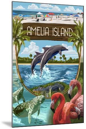 Amelia Island, Florida - Montage-Lantern Press-Mounted Art Print