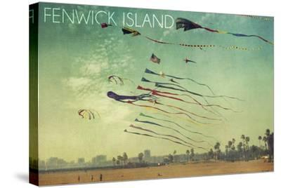 Fenwick Island, Delaware - Kites and Beach-Lantern Press-Stretched Canvas Print
