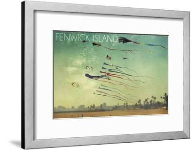 Fenwick Island, Delaware - Kites and Beach-Lantern Press-Framed Art Print