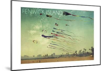 Fenwick Island, Delaware - Kites and Beach-Lantern Press-Mounted Art Print