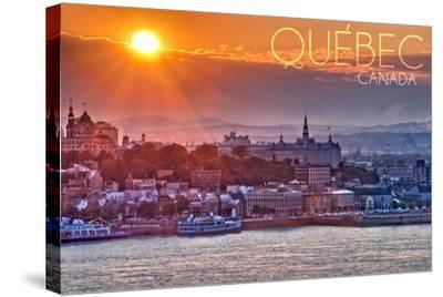 Quebec, Canada - Sunset over City-Lantern Press-Stretched Canvas Print