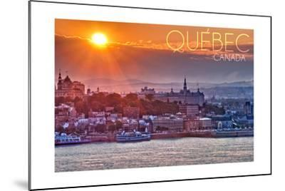 Quebec, Canada - Sunset over City-Lantern Press-Mounted Art Print