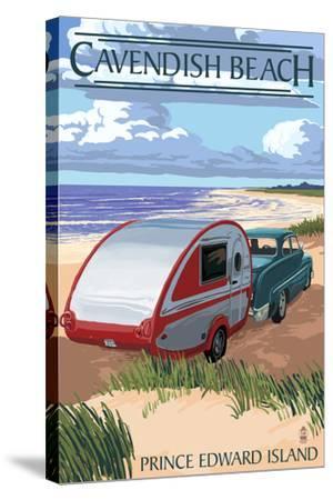 Prince Edward Island - Cavendish Beach and Camper-Lantern Press-Stretched Canvas Print