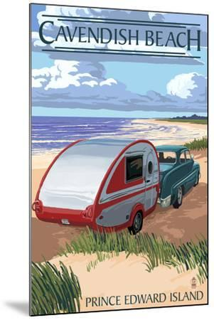 Prince Edward Island - Cavendish Beach and Camper-Lantern Press-Mounted Art Print