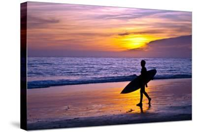 Surfer and Sunset-Lantern Press-Stretched Canvas Print