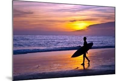 Surfer and Sunset-Lantern Press-Mounted Art Print