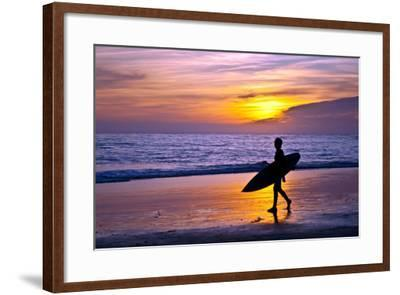 Surfer and Sunset-Lantern Press-Framed Art Print