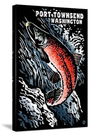 Port Townsend, Washington - Sockeye Salmon - Scratchboard-Lantern Press-Stretched Canvas Print