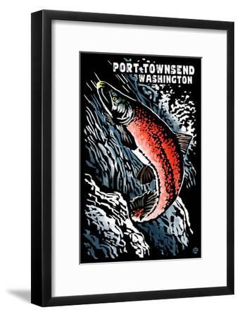 Port Townsend, Washington - Sockeye Salmon - Scratchboard-Lantern Press-Framed Art Print