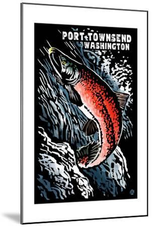 Port Townsend, Washington - Sockeye Salmon - Scratchboard-Lantern Press-Mounted Art Print