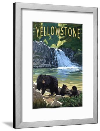 Bear Family - Yellowstone-Lantern Press-Framed Art Print
