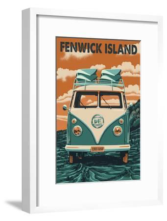Fenwick Island, Delaware - Letterpress-Lantern Press-Framed Art Print