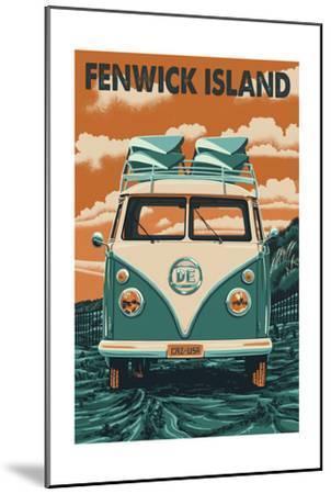 Fenwick Island, Delaware - Letterpress-Lantern Press-Mounted Art Print