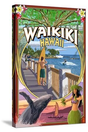 Waikiki, Hawaii - Town Scenes Montage-Lantern Press-Stretched Canvas Print