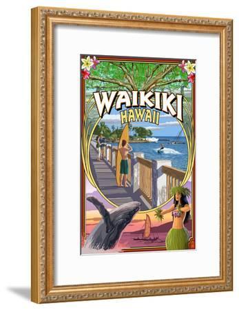 Waikiki, Hawaii - Town Scenes Montage-Lantern Press-Framed Art Print