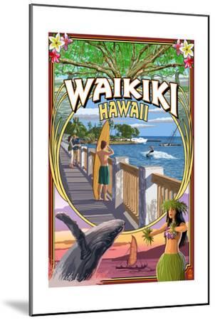 Waikiki, Hawaii - Town Scenes Montage-Lantern Press-Mounted Art Print