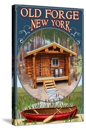 Old Forge, New York - Cabin in Woods-Lantern Press-Stretched Canvas Print