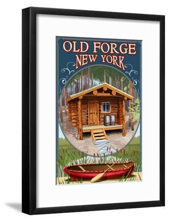 Old Forge, New York - Cabin in Woods-Lantern Press-Framed Art Print