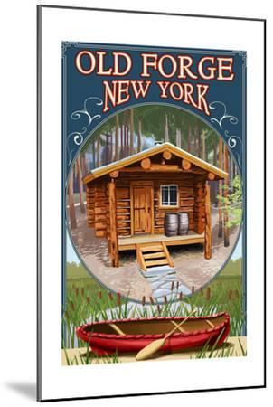 Old Forge, New York - Cabin in Woods-Lantern Press-Mounted Art Print