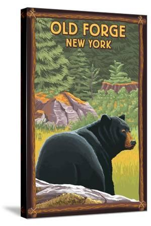 Old Forge, New York - Black Bear in Forest-Lantern Press-Stretched Canvas Print
