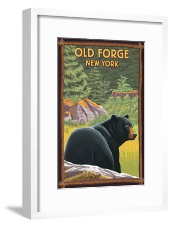 Old Forge, New York - Black Bear in Forest-Lantern Press-Framed Art Print